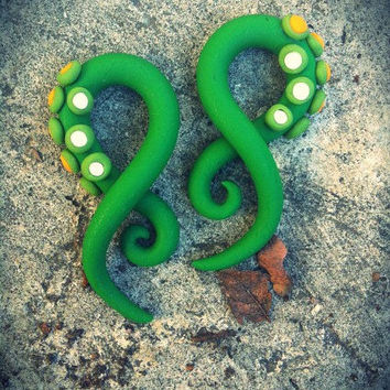 Little Green Monster gauged earrings