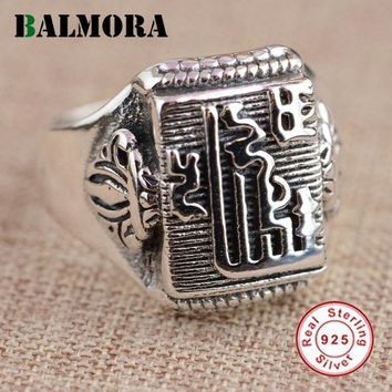 BALMORA 100% Real 925 Sterling Silver Buddhist Luxury Rings for Women Men Thai Silver Ring High Quality Jewelry Anillos SY20908