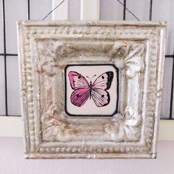 Butterfly Wall Decor- Handpainted Silver Frame- Original Cottage Chic Art- 12X12 inches