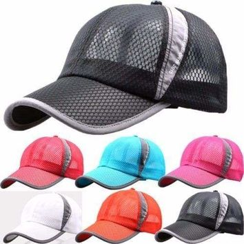 Mens Womens Mesh Curved Visor Baseball Cap Tennis Golf Sports Snapback Sun Hat