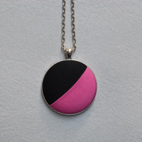 Pink & black minimalist necklace | modern colorblock pendant | fabric button necklace | ooak eco friendly jewelry | unique gift idea for her