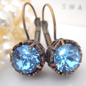 Art Deco, Aquamarine Blue, Swarovski Dangle Earrings, Leverback, Crystal Drops, Antique Bronze, Filigree Prong Setting, Vintage Jewelry
