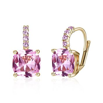 Unique In Style Trendy Earrings Pink Asscher Cut Swarovski Pave Leverback in 14K Gold