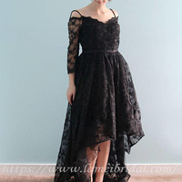 Stunning Short Front Long Back  prom dress, Long Evening Prom Graduation lace Dress with off shoulder 3/4 sleeves