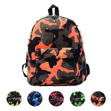 New207 Children students backpack teen boys girls School Bag camo Rivets Camouflage Backpack Cute Baby Toddler