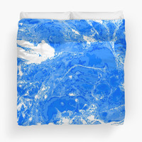 'Blue and white marble texture.' Duvet Cover by kakapostudio