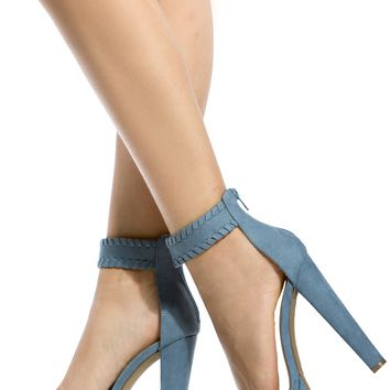 Blue Faux Suede Ankle Strap Chunky Platform Heels @ Cicihot Heel Shoes online store sales:Stiletto Heel Shoes,High Heel Pumps,Womens High Heel Shoes,Prom Shoes,Summer Shoes,Spring Shoes,Spool Heel,Womens Dress Shoes