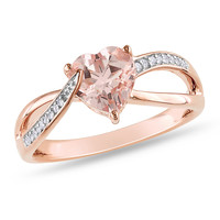 Amour Pink Silver Round Cut Diamond and Morganite Ring