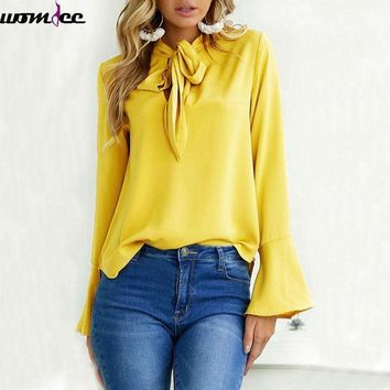 2018 Spring Autumn New Women Blouse with Bow Tie Chiffon Blouses Tops Elegant Long Sleeve Shirt Female Butterfly Winter office
