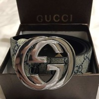 Gucci blue grey guccisima belt made in Italy silver buckle