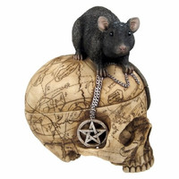 Salem Witch Witchcraft Skull with Pentagram Pentacle Mouse Jewelry Trinket Box Statue Figurine