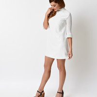 1960s Mod Style White Lace Bell Sleeved Harva Flared Shift Dress