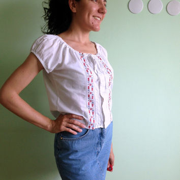 Floral Embroidery White Shirt, Gypsy Top, Off The Shoulder Peasant Blouse, Red Blue Boho Button Up, Festival Clothing, Crop Top, Size Small