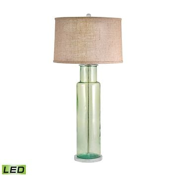 Recycled Glass Cylinder LED Table Lamp In Green