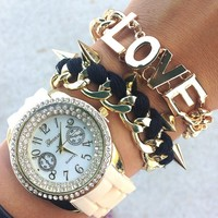 Fashionista In The Fall Cream Watch Set- Tanya Kara Jewelry