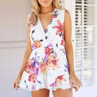Floral Surplice V Neck Sleeveless Pleated Romper