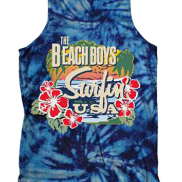 Beach Boys Surfing USA Tie Dye Tank Top Mens Shirt
