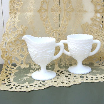 Milk Glass Creamer and Sugar by Imperial Glass