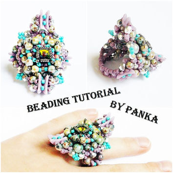 Beading ring tutorial. Beading pattern. How make to jewelry tutorial. Pdf file, pfd instruction. Beading instruction.
