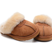 """UGG"" Fashion Women Casual Wool Slipper Shoes brown"