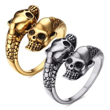 Silver Gold Color Skull Ring for Men Rock Punk Biker Ring Stainless Steel Party Male Jewelry Double Skeleton Cool Men's Ring