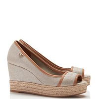 Tory Burch Majorca Metallic Logo Wedge