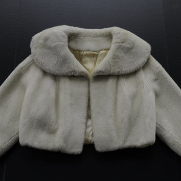 Vintage Betty Rose 1960's Faux Fur Crop Womens Jacket - S