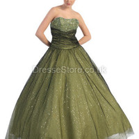 BallGown Strapless Tulle Floor-length Green Beading Quinceanera Dress at dressestore.co.uk