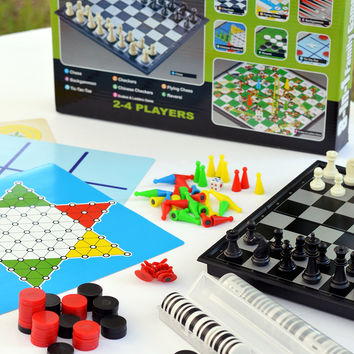 Fun Family Game Night!! Chess Checkers and More! 8 Board Games in 1 -Best Educational Boredom Buster! '