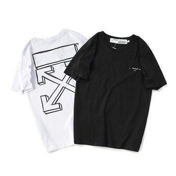 Ins same paragraph off 18ss OFF WHITE 3D sketch basic arrow print short sleeve t-shirt lovers