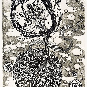 Abstract Floral Etching Print