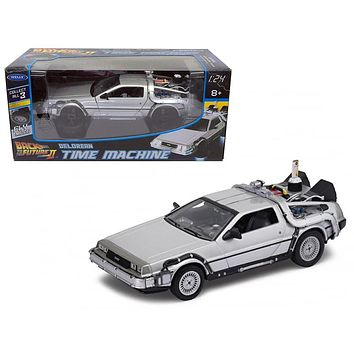 """Delorean from movie \""""Back To The Future 2\"""" Flying Version 1/24 Diecast Car Model by Welly"""