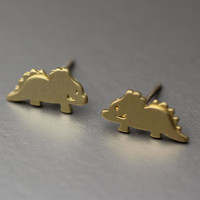 Dino Triceratops Saurus Silver studs earrings  - Available color as listed ( Silver, Gold )
