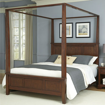 Queen size Contemporary Classic Canopy Bed in Cherry Wood Finish