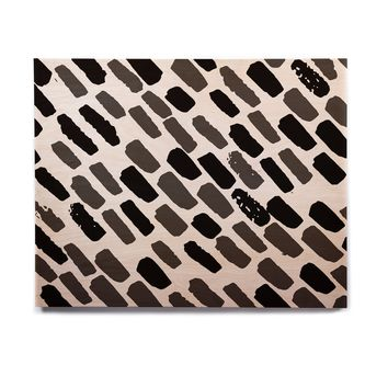 "bruxamagica ""Oblique Dots Black And White"" Black White Abstract Polkadot Digital Birchwood Wall Art"