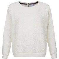 New Look Mobile | Petite White Floral Jacquard Long Sleeve Sweater
