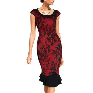 Womens Vintage Elegant Formal Lace Button Patchwork Tunic Work Party Mermaid Midi Pencil Wiggle Bodycon Dress