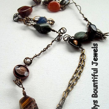 Necklace - gemstones - wire wrapped - sea shell connectors - She sells sea shells