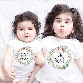children clothes summer Baby Kids Girl Little Big Sister Match Clothes Jumpsuit Romper Outfits T Shirt  Family Matching Outfits