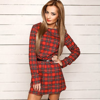 Plaid Long Sleeve Mini A-line Dress
