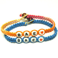 Couples or Friendship Bracelet Set of Two, Bright Blue and Sherbert, BAE, Before Anyone Else, Hemp Jewelry