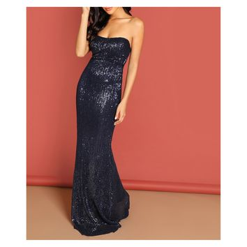 Blue Strapless Bodycon Sequin Evening Formal Dress