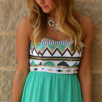 Mint Glamourati Maxi Dress · Haute Pink - Strapless maxi dress with aztec sequin detailed top and mint chiffon skirt
