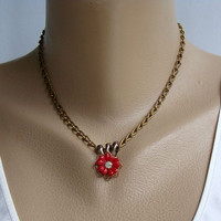 Red Celluloid Flower Slider Pendant Necklace Rhinestone Vintage Jewelry