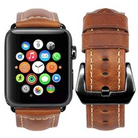 Changeable Apple Watch Band 38mm Retro Genuine Leather iwatch Band Replacement Strap with Stainless Metal Clasp for Apple Watch Series 3 Series 2 Series 1 Sport and Edition (Light Brown, 38mm)