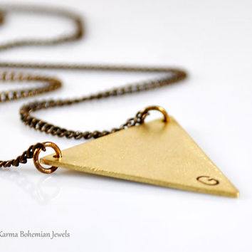 Long Brass Triangle Necklace. Gold Initial Necklace. Personalized Brass Triangle Necklace. Boho Brass Triangle Necklace. Geometric Jewelry.