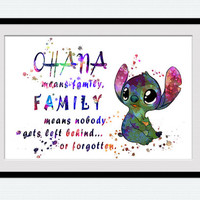 Stitch watercolor art print Lilo and Stitch colorful poster Disney art painting Home decoration Kids room wall art Nursery room decor W488