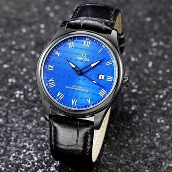 DCCK O010 Omega New Automatic Mechanical Leather Watchaband Watches Black Blue