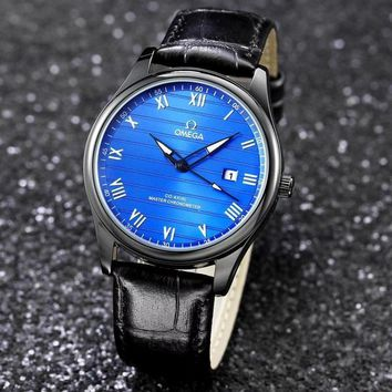 PEAP O010 Omega New Automatic Mechanical Leather Watchaband Watches Black Blue