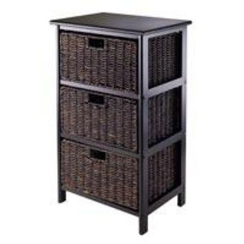 Winsome Wood 20317 Omaha Storage Rack with Fold-able Baskets